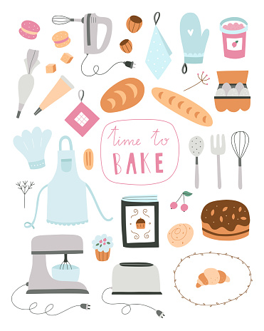 Cooking vector clipart. Baking illustrations isolated on white background. Cute hand drawn bakery set