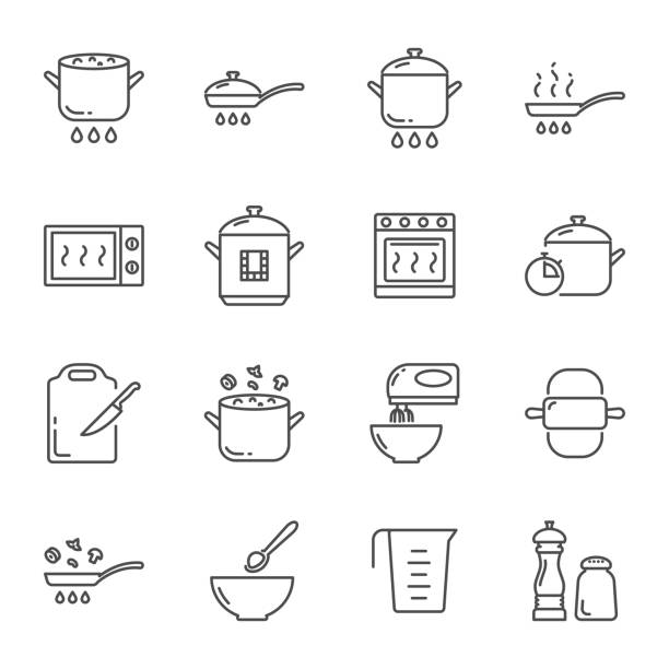 Cooking vector icons set Cooking vector icons set oven stock illustrations