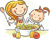 Mother and daughter are making salad together, no gradients.