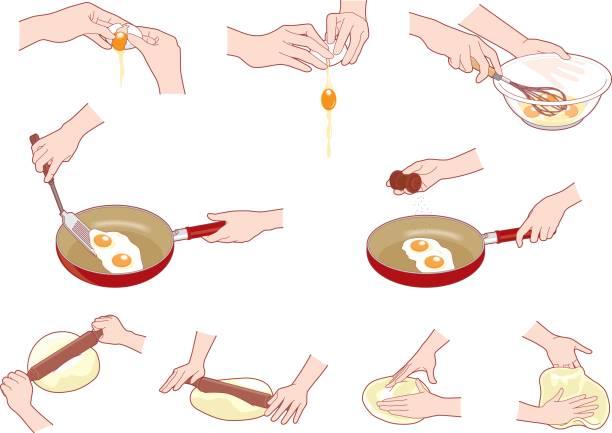 illustrazioni stock, clip art, cartoni animati e icone di tendenza di cooking - impastare