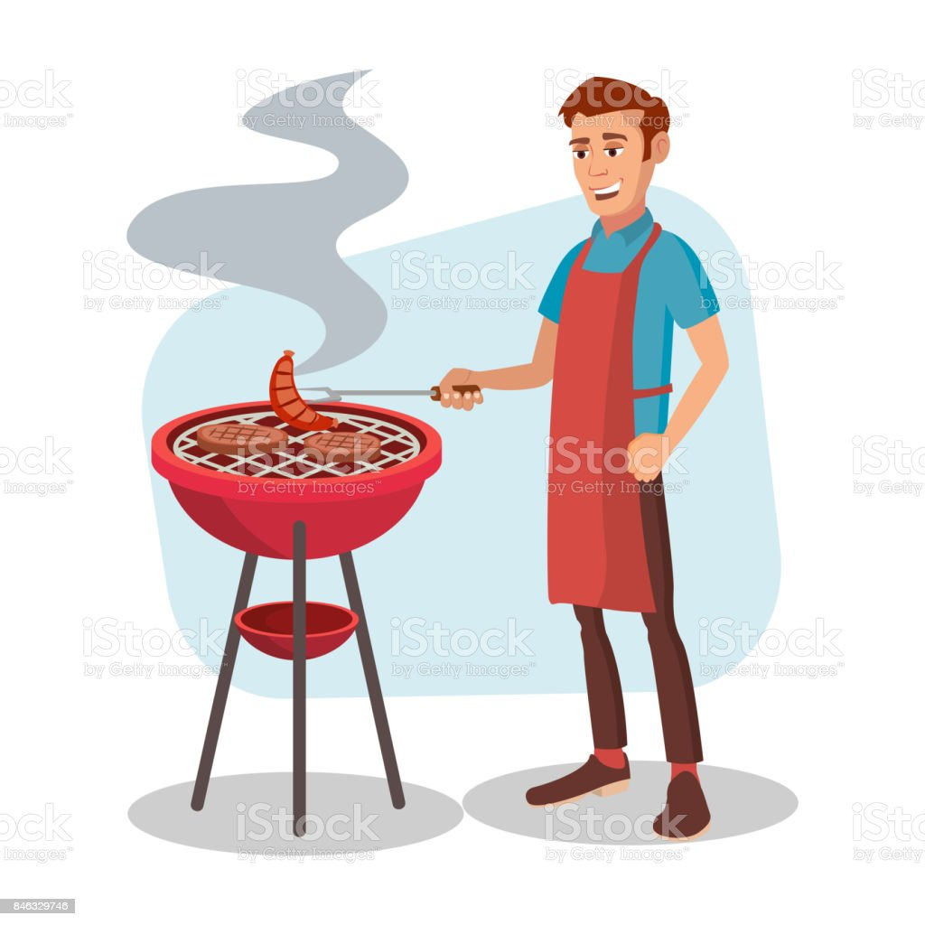 BBQ Cooking Vector. Man Cook Grill Meat On Bbq. Isolated Flat Cartoon Character Illustration - illustrazione arte vettoriale