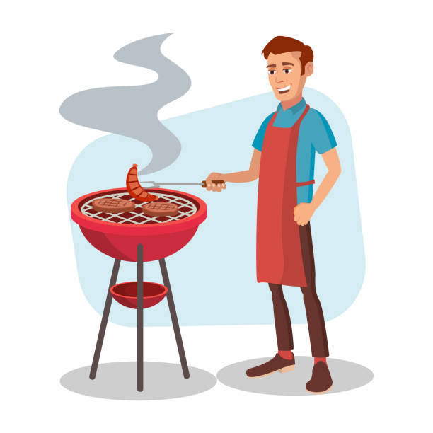 bbq cooking vector. man cook grill meat on bbq. isolated flat cartoon character illustration - grilling stock illustrations