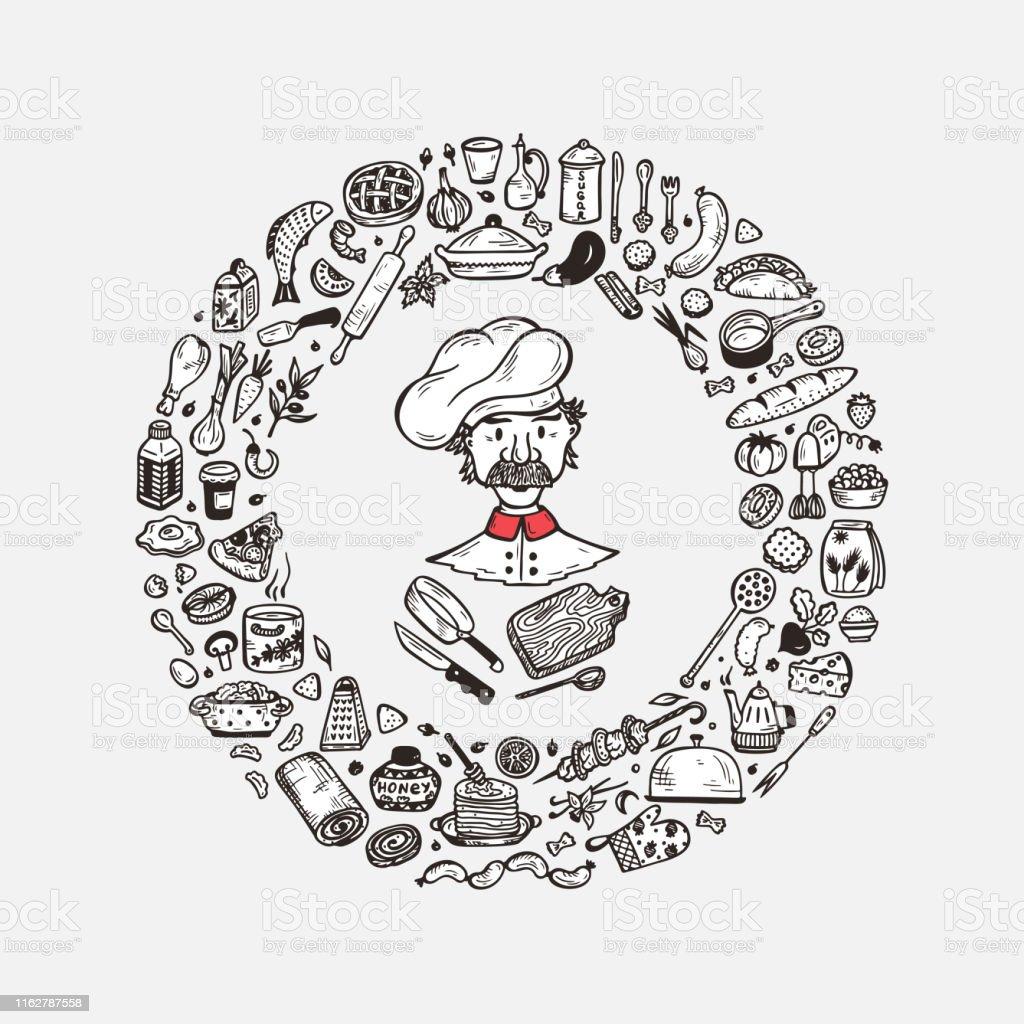 Cuisine Ensemble De Vecteur Pour La Decoration De Menu Cadre Rond