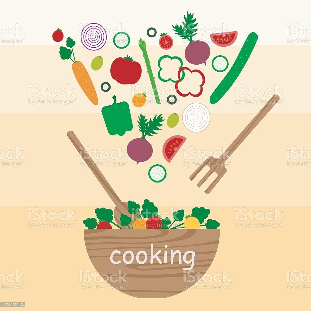 cooking vegetables,salad vector art illustration