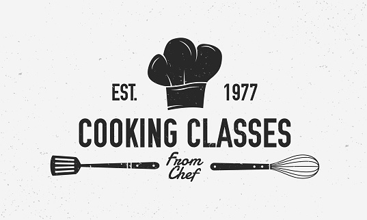 Cooking vintage logo. Cooking Class template logo with spatula and whisk . Modern design poster. Label, badge, poster for food studio, cooking courses, culinary school. Vector illustration