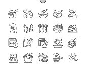 Cooking Well-crafted Pixel Perfect Vector Thin Line Icons 30 2x Grid for Web Graphics and Apps. Simple Minimal Pictogram
