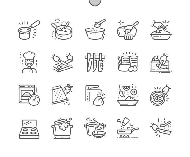 illustrazioni stock, clip art, cartoni animati e icone di tendenza di cooking well-crafted pixel perfect vector thin line icons 30 2x grid for web graphics and apps. simple minimal pictogram - kitchen situations