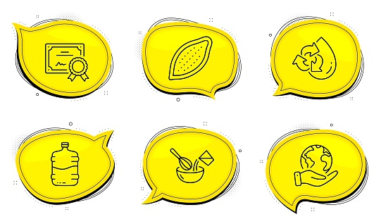 Cooking whisk, Recycle water and Cooler bottle icons set. Cocoa nut sign. Cutlery, Refill aqua, Water drink. Vector