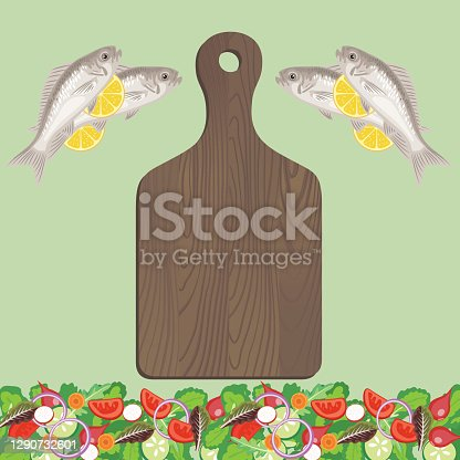 istock Cooking With Fish Flat Lay On Green Background 1290732601