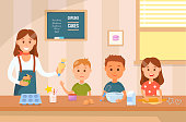 Cooking with Kids Concept. Culinary Class. Baking Training for Children. Homemade Bakery. Baby Bakers. Cooking Lesson for Children. Girl and Boys Baking Cake and Cupcake. Vector Flat Illustration.