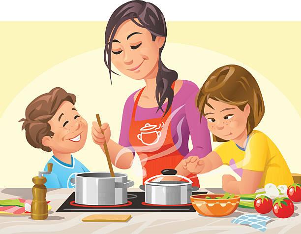 Cuisiner avec les enfants - Illustration vectorielle