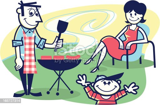 illustration of a family backyard cookout