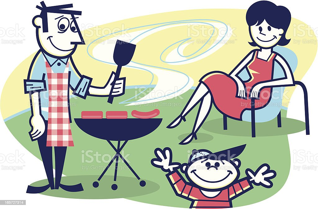 cookout! vector art illustration