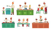 Cooks children. Kids baking or cooking food, chief children classes and cook with child. Restaurant chef cooking gourmet meal with kid. Vector illustration isolated icons set
