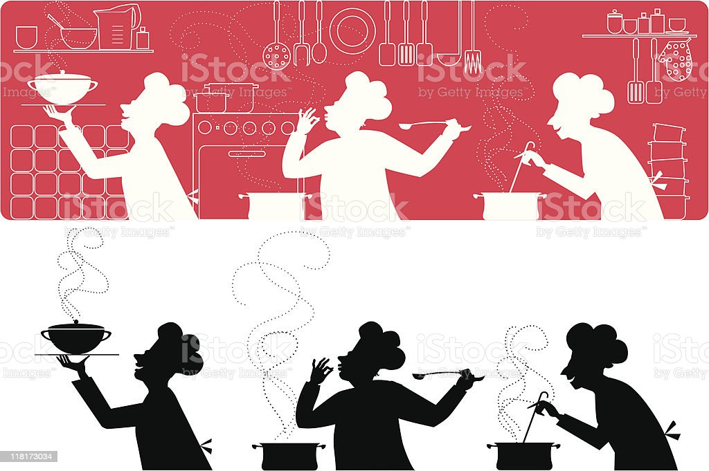 Cooks in the kitchen royalty-free stock vector art