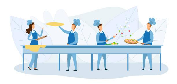 illustrazioni stock, clip art, cartoni animati e icone di tendenza di cooks team preparing pizza together illustration - impastare