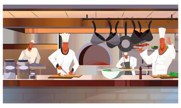 ilustraciones, imágenes clip art, dibujos animados e iconos de stock de ilustración de vector de cocineros trabajando en cocina de restaurante - busy restaurant kitchen