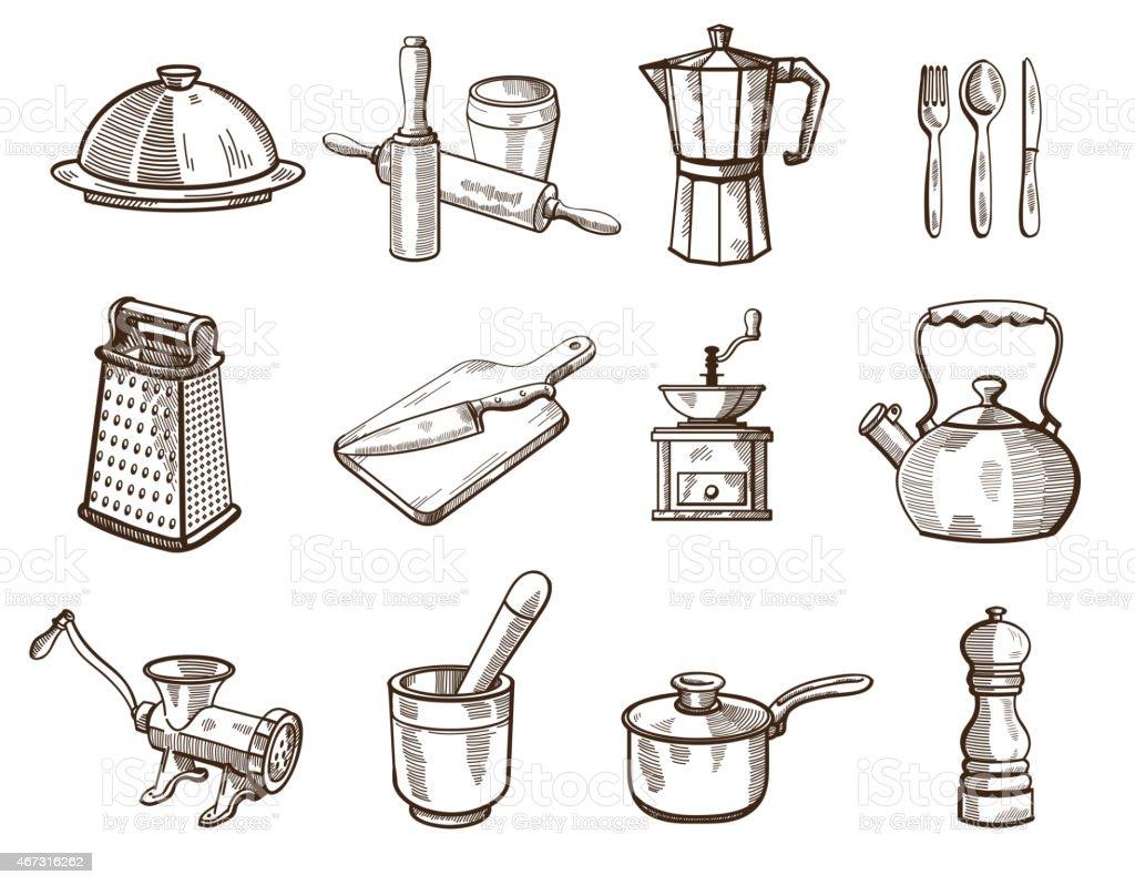 Cookware and kitchen utensils vector art illustration