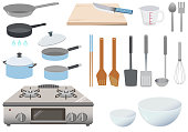 Cookware and stove icon set