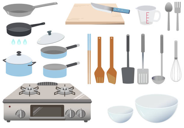 Cookware and stove icon set vector art illustration