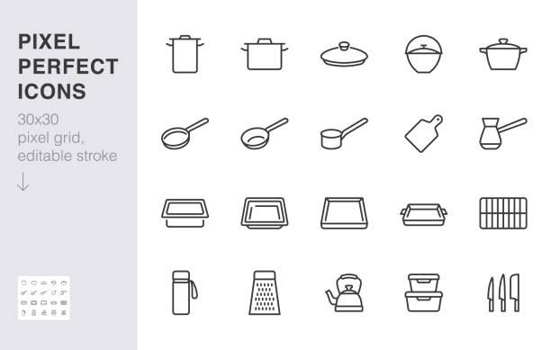 bildbanksillustrationer, clip art samt tecknat material och ikoner med köksredskap linje ikonuppsättning. köksutrustning spispanna potten, stekning stekhäll, lock, kniv rivjärn minimal vektor illustration. enkel kontur tecken på köksredskap. 30x30 pixel perfekt redigerbar linje - bakplåt