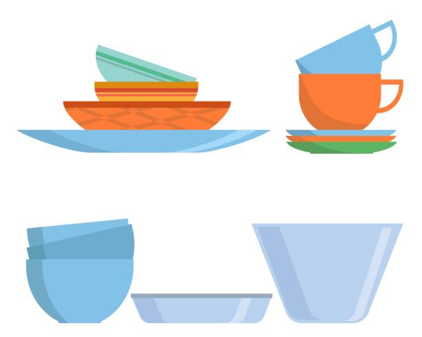 cookware set icon in flat style. colorful dishes isolated on white background. kitchen household cutlery, cups and ceramic plate. tableware and crockery. vector illustration - wyrób ceramiczny stock illustrations