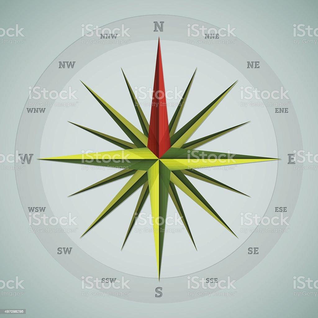 Cool 16 point compass design vector art illustration