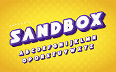 Cool and funny english alphabet cartoon 3d letters. Vector illustration.