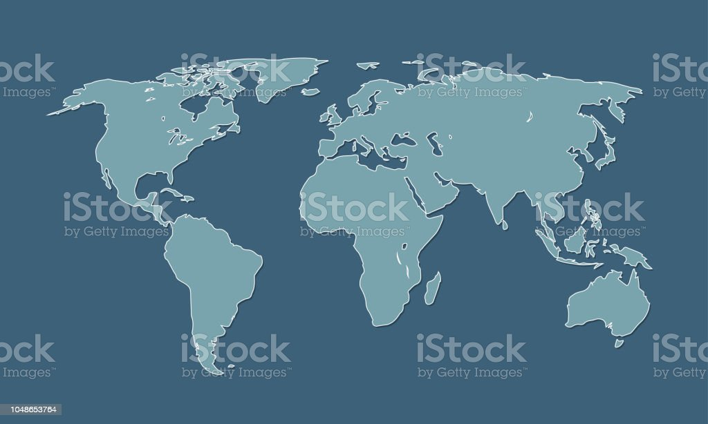 A Cool And Simple Blue World Map Of Different Countries And