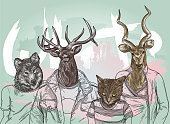 Youthful looking animals with human bodies done in a line art style.