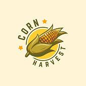 istock Cool Badge Corn Harvest logo designs concept vector, Corn logo symbol, Agriculture symbol 1301167189