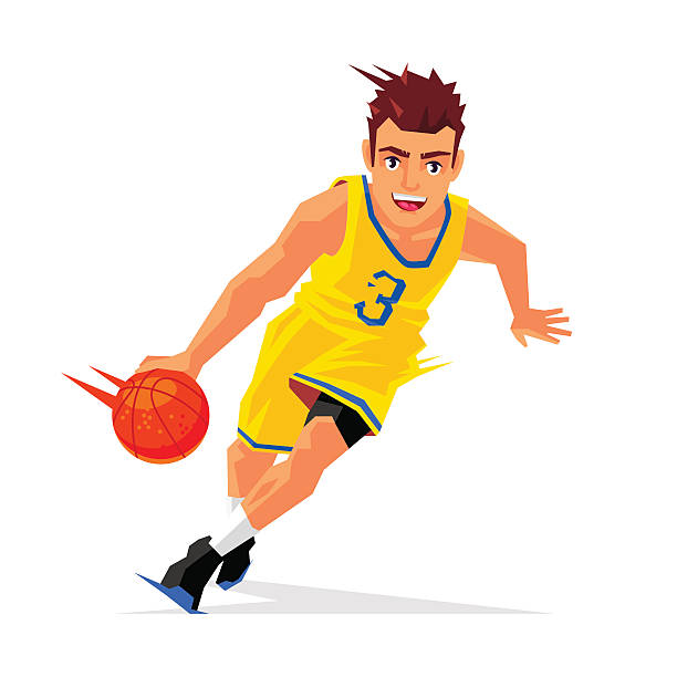 Cool basketball player with ball Cool basketball player in yellow uniform with the ball. Vector illustration on white background. Sports concept. suave stock illustrations