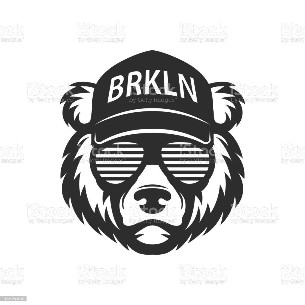 Cool bear in sunglasses vector art illustration