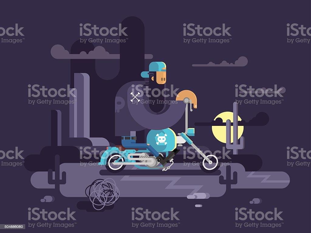 Cool biker on a motorcycle vector art illustration