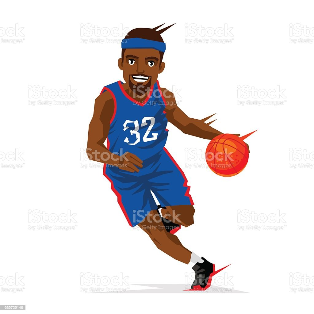 Cool black basketball player vector art illustration