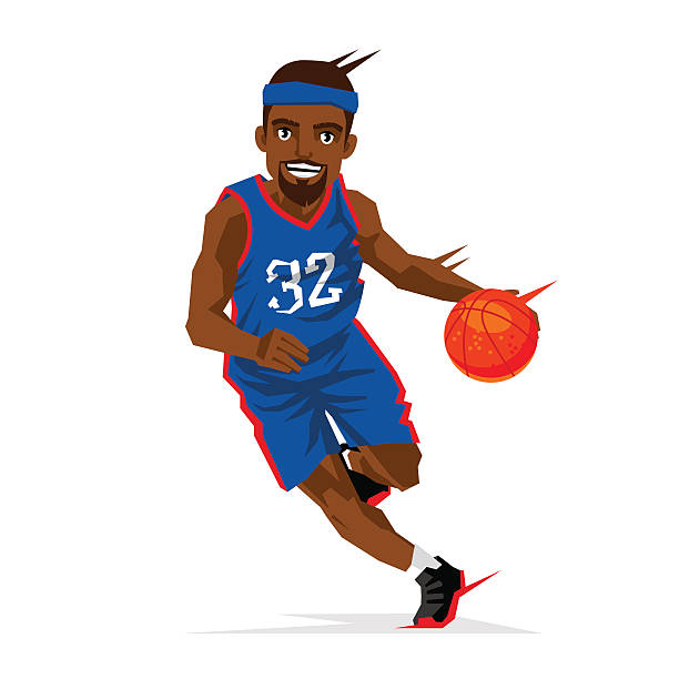 Cool black basketball player Cool black basketball player in a blue uniform with a ball. Vector illustration on white background. Sports concept. suave stock illustrations
