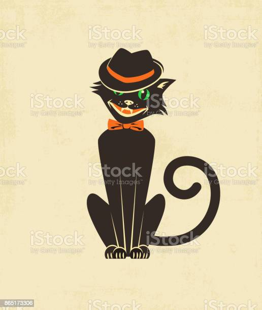 Cool black cat in a fedora for halloween cards banners posters style vector id865173306?b=1&k=6&m=865173306&s=612x612&h=kbd2whi1lfiklxg5vzvn vars5bkeeay7svdzy1yqk0=