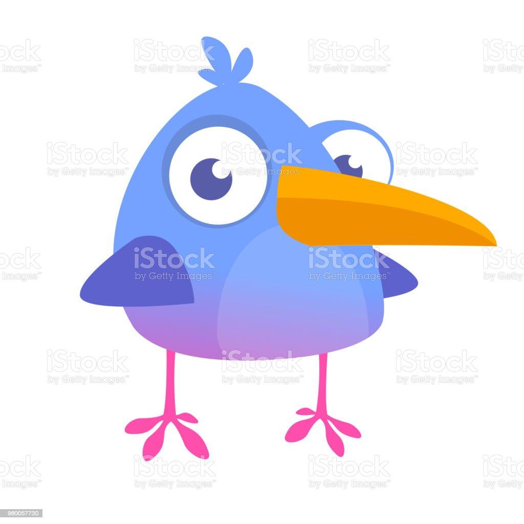 Cool  blue bird cartoon. Vector illustration of forest blue bird isolated on white. Bird icon vector art illustration