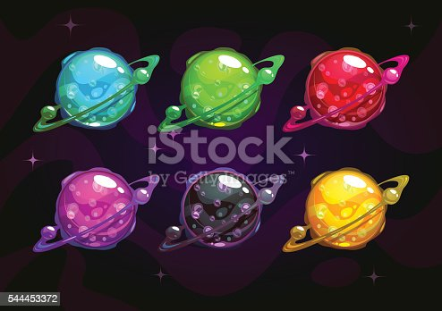 Cool bright colorful fantasy planet icons set, fantasy vector assets for space design