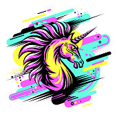 Cool bright print with angry Unicorn. Fury Magic animal colorful illustration. Vector art for apparel, textile design, fashion, mascot, sport team emblem, teenager stationery, accessories. Neon colors