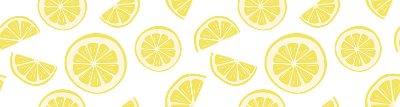 Cool bright seamless pattern with lemon slices. Beautiful trendy background with juicy summer fruits. Citrus print for T-shirts, wallpaper, wrapping paper, textiles, school supplies, stationery