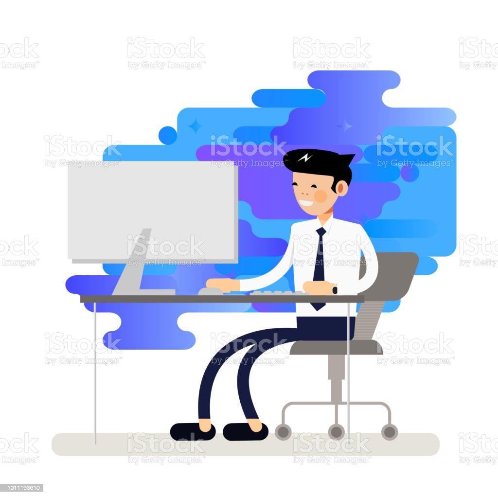 Coole Geschäftsmann Auf Desktopcomputer Arbeiten Stock Vektor Art