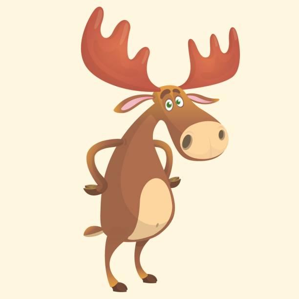 Cool carton moose. Vector illustration isolated. Cool carton moose. Vector illustration isolated. elk stock illustrations
