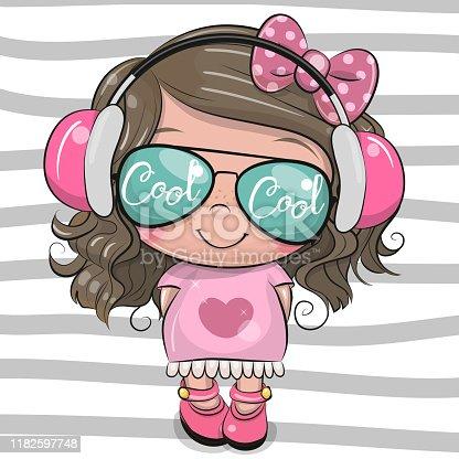 istock Cool Cartoon Cute Girl with sun glasses 1182597748