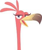 Cool cartoon pink flamingo bird icon. Vector illustration isolated. Poster design sticker