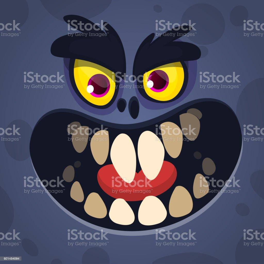 Monstre Noir Effrayant Cool Cartoon Visage De Illustration lcuFK13J5T