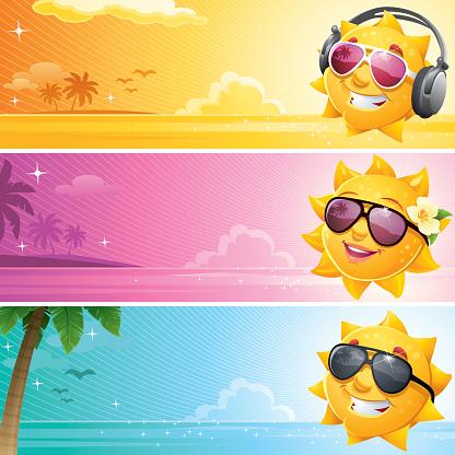 Cool Cartoon Sun Summer Banner