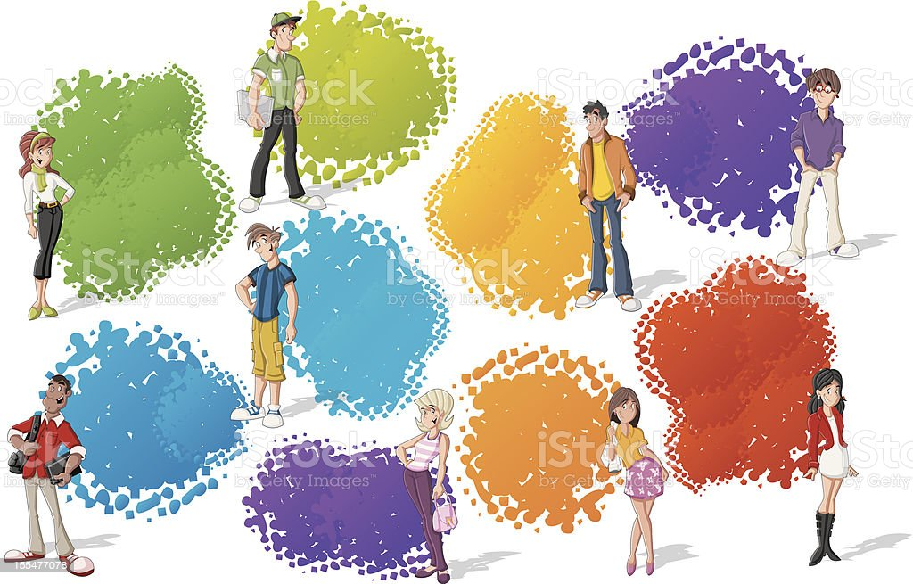 cool cartoon young people royalty-free stock vector art