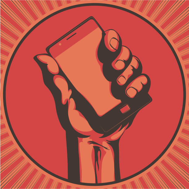 cool cell phone Vector illustration in retro style of  a hand holding a cool modern cell phone hand holding phone stock illustrations