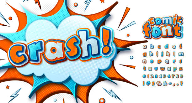 Cool comic font, kid's alphabet in style of comics, pop art. Multilayer funny blue-orange letters on comic book page, speech bubble, burst for decoration of children's illustrations, posters, banners vector art illustration
